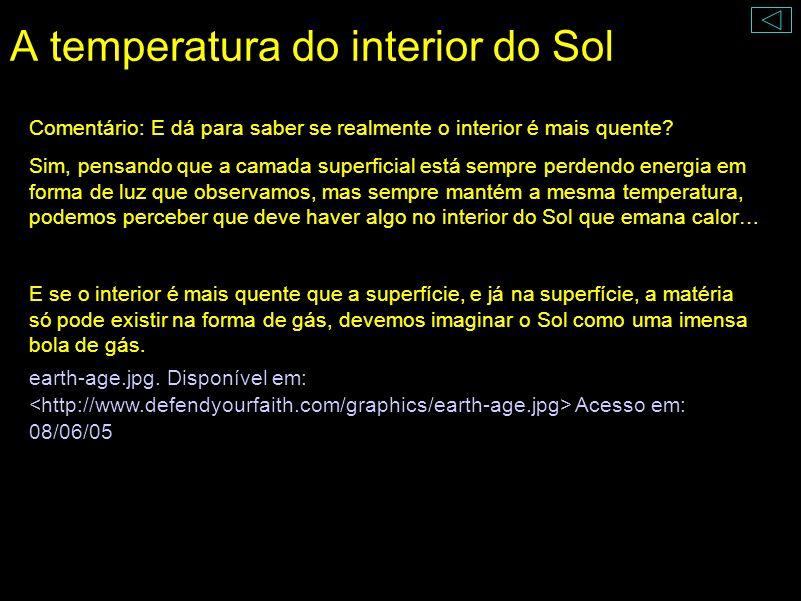 A temperatura do interior do Sol A temperatura da superfície é constante, apesar da energia que sai. Logo, o interior deve ser mais quente. A temperat