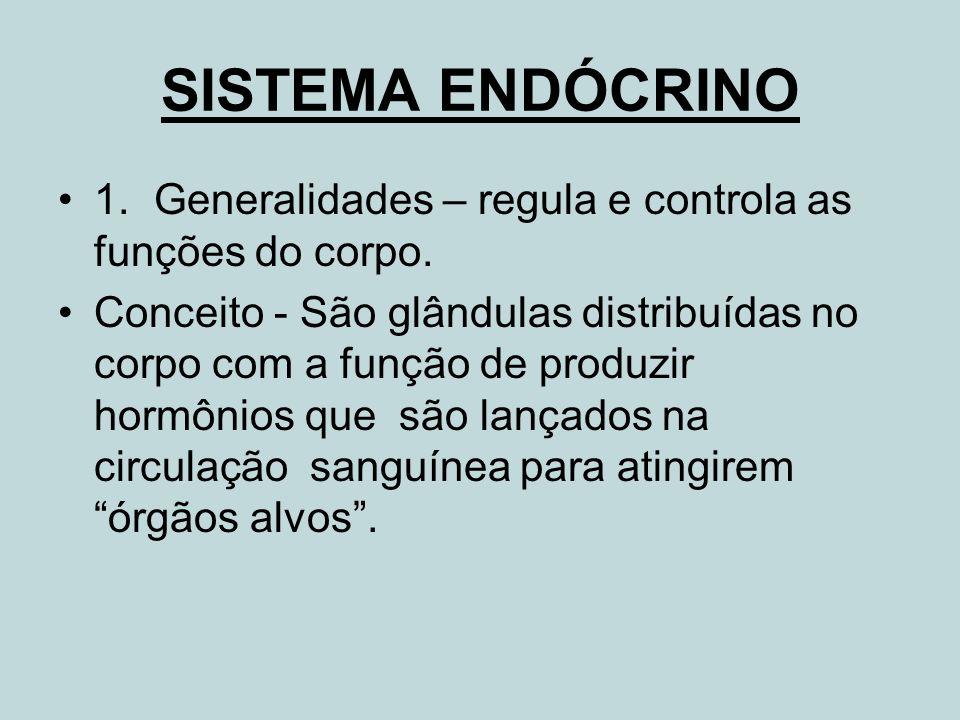 1.Generalidades – regula e controla as funções do corpo. Conceito - São glândulas distribuídas no corpo com a função de produzir hormônios que são lan