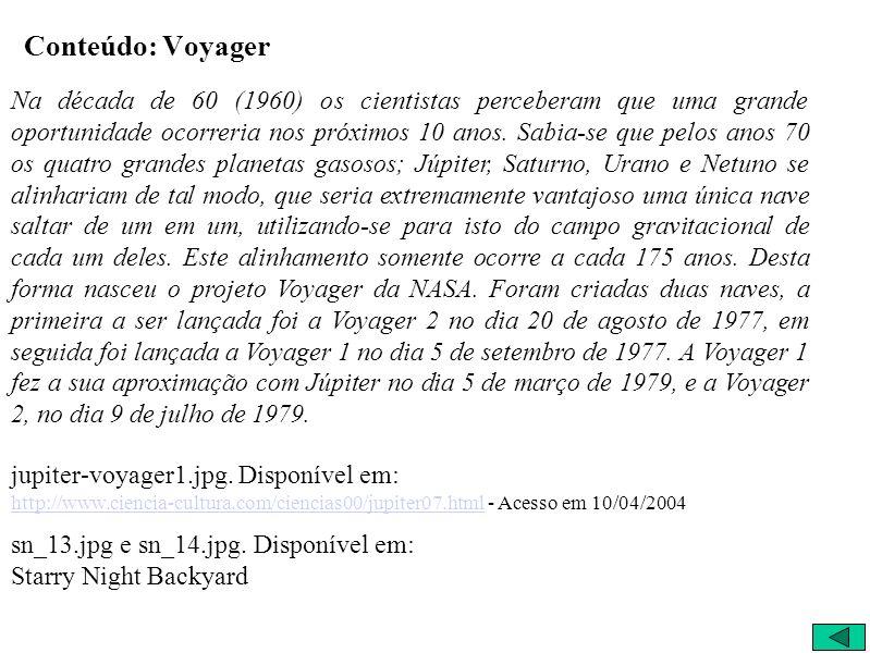 Voyager 5/9/1977 Lançamento Voyager I Configuração no Lançamento 5/3/1979 Voyager I Configuração na chegada a Júpiter