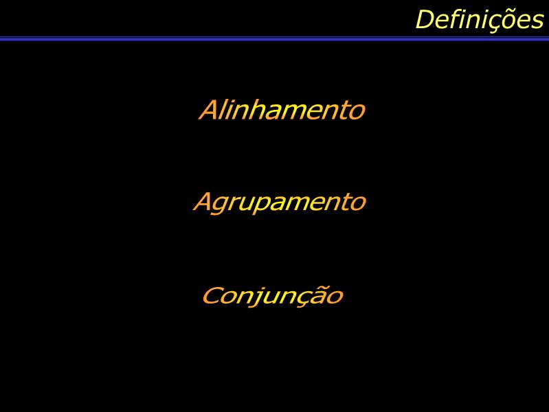 Conteúdo: Alinhamento Existem infinitas formas de você traçar um alinhamento para os planetas, e a forma que devemos proceder para alinhar os planetas é pelo plano de órbita que eles possuem em torno do Sol.