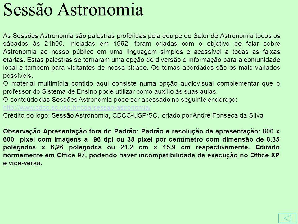 As Sessões Astronomia são palestras proferidas pela equipe do Setor de Astronomia todos os sábados às 21h00.