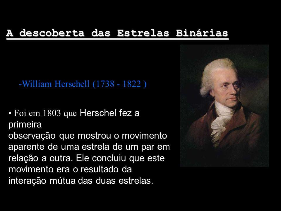 A descoberta das Estrelas Binárias -William Herschell (1738 - 1822 ) Foi em 1803 que Herschel fez a primeira observação que mostrou o movimento aparen