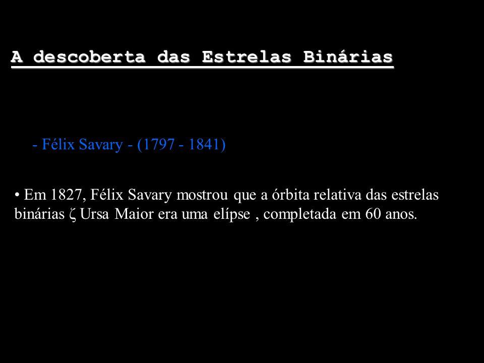 A descoberta das Estrelas Binárias - Félix Savary - (1797 - 1841) Em 1827, Félix Savary mostrou que a órbita relativa das estrelas binárias ζ Ursa Mai