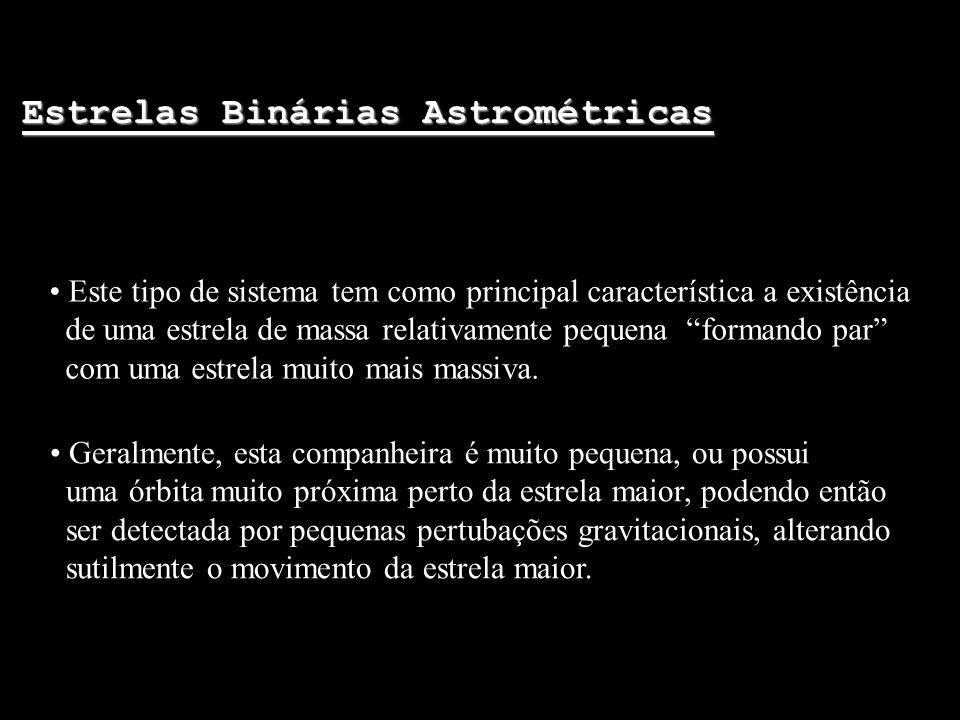 Estrelas Binárias Astrométricas Este tipo de sistema tem como principal característica a existência de uma estrela de massa relativamente pequena form