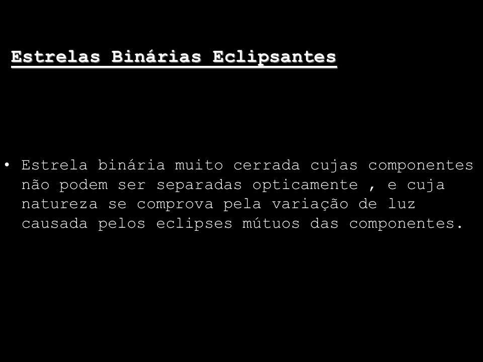 Estrelas Binárias Eclipsantes Estrela binária muito cerrada cujas componentes não podem ser separadas opticamente, e cuja natureza se comprova pela va