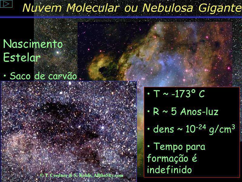 Conteúdo: Por que uma nebulosa se forma? Numa galáxia podem existir várias regiões de formação, consideradas berçários de estrelas, que são as nuvens