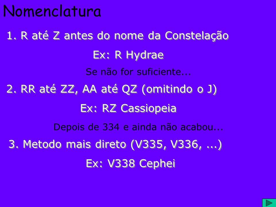 Nomenclatura 1. R até Z antes do nome da Constelação Ex: R Hydrae 1. R até Z antes do nome da Constelação Ex: R Hydrae 2. RR até ZZ, AA até QZ (omitin