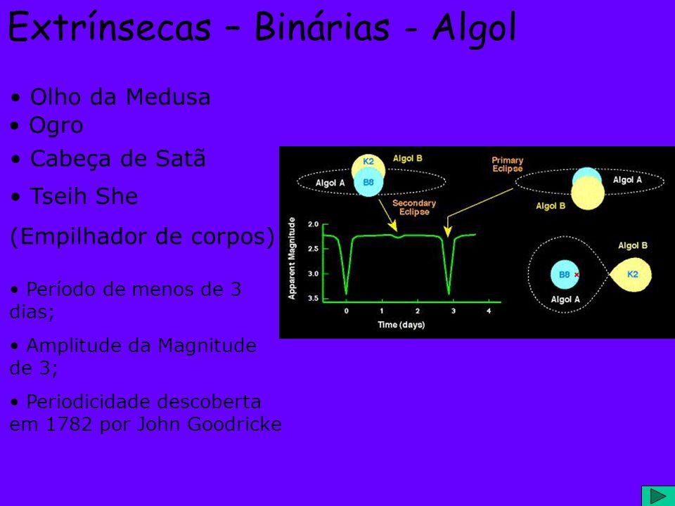 Extrínsecas – Binárias - Algol Olho da Medusa Cabeça de Satã Tseih She (Empilhador de corpos) Período de menos de 3 dias; Amplitude da Magnitude de 3;