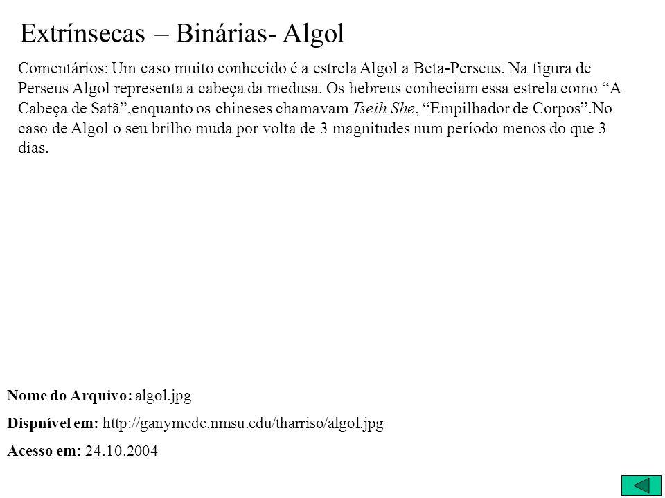 Extrínsecas – Binárias- Algol Comentários: Um caso muito conhecido é a estrela Algol a Beta-Perseus. Na figura de Perseus Algol representa a cabeça da