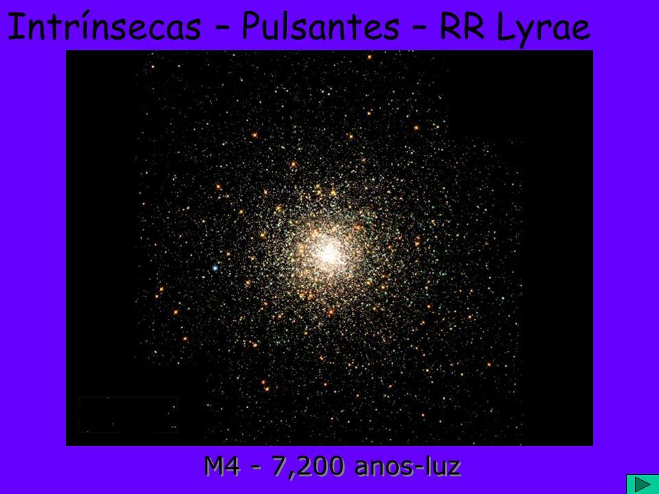 Intrínsecas – Pulsantes – RR Lyrae Estrelas Gigantes Brancas; Antigas, vivem em Aglomerados Globulares; Períodos rápidos (1,5 hr até 1 dia); Amplitude