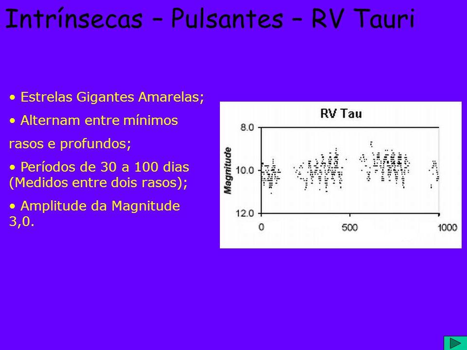 Intrínsecas – Pulsantes – RV Tauri Estrelas Gigantes Amarelas; Alternam entre mínimos rasos e profundos; Períodos de 30 a 100 dias (Medidos entre dois