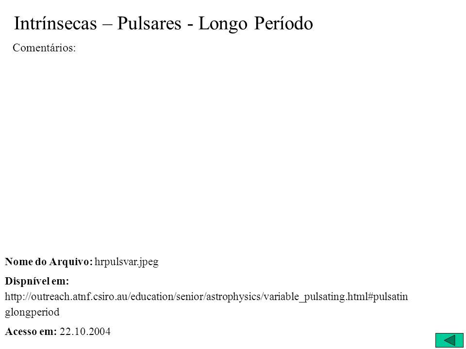 Intrínsecas – Pulsares - Longo Período Comentários: Nome do Arquivo: hrpulsvar.jpeg Dispnível em: http://outreach.atnf.csiro.au/education/senior/astro