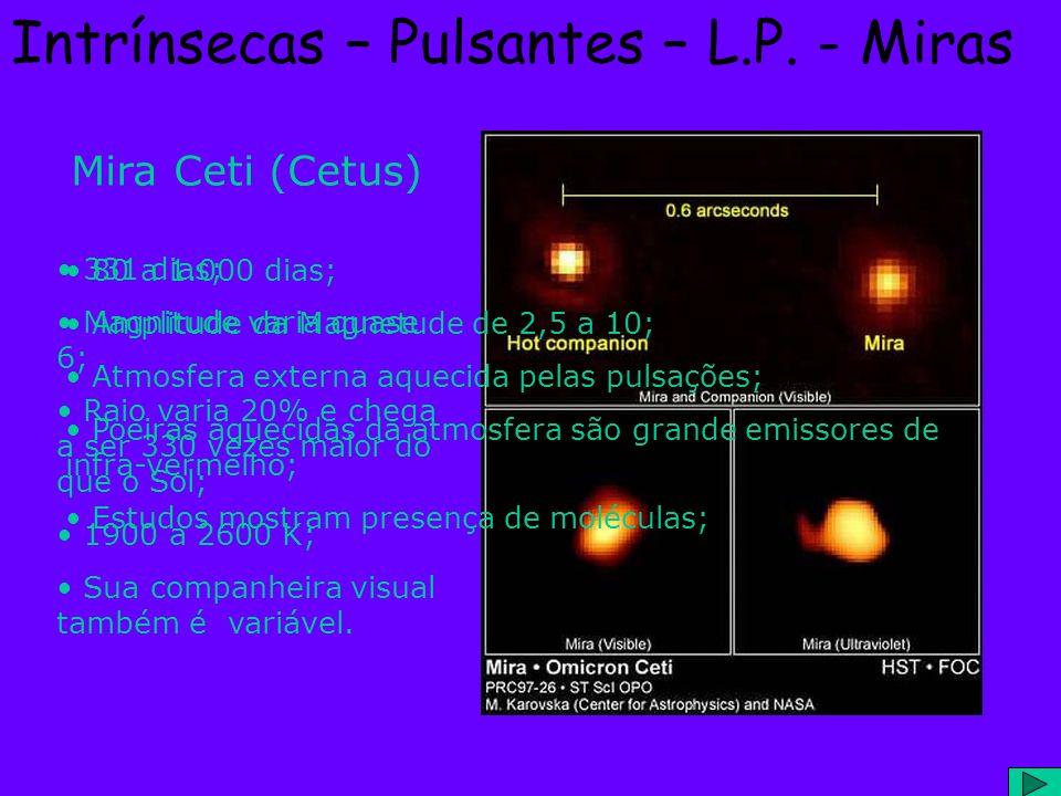 Intrínsecas – Pulsantes – L.P. - Miras Mira Ceti (Cetus) 331 dias; Magnitude varia quase 6; Raio varia 20% e chega a ser 330 vezes maior do que o Sol;