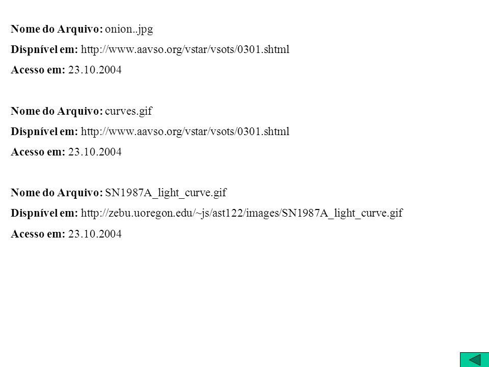 Nome do Arquivo: onion..jpg Dispnível em: http://www.aavso.org/vstar/vsots/0301.shtml Acesso em: 23.10.2004 Nome do Arquivo: curves.gif Dispnível em: