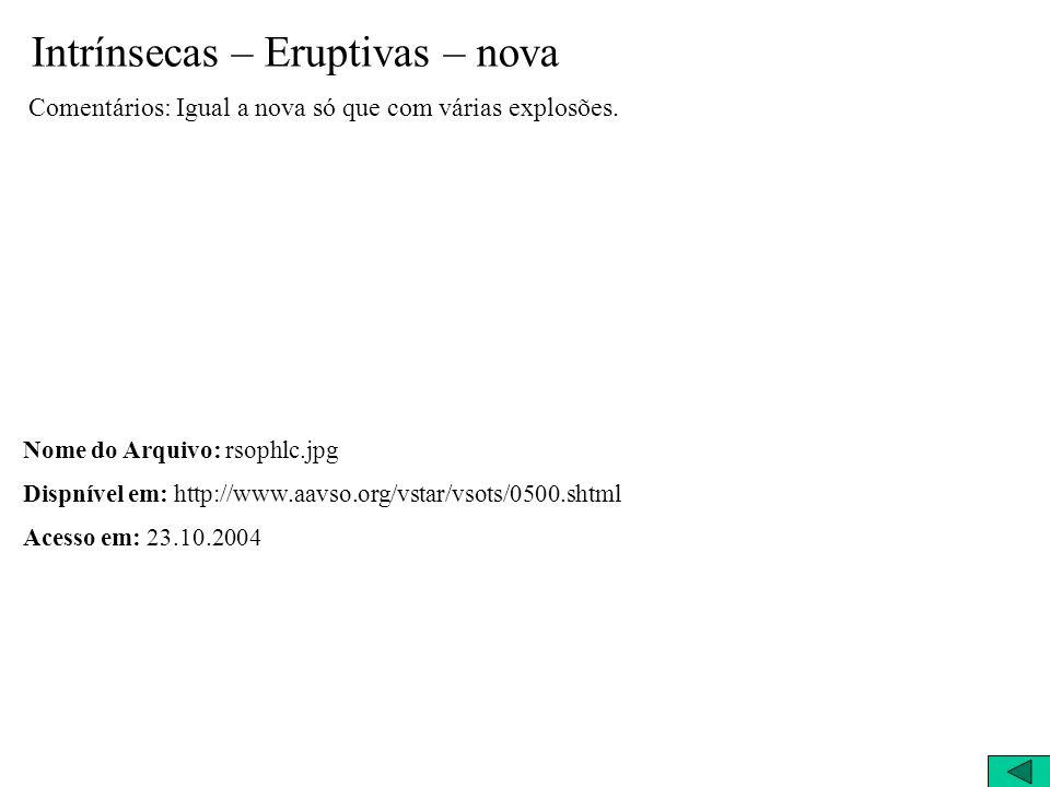 Intrínsecas – Eruptivas – nova Comentários: Igual a nova só que com várias explosões. Nome do Arquivo: rsophlc.jpg Dispnível em: http://www.aavso.org/