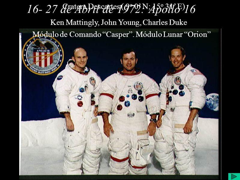 16- 27 de Abril de 1972:Apollo 16 Ken Mattingly, John Young, Charles Duke Módulo de Comando Casper.