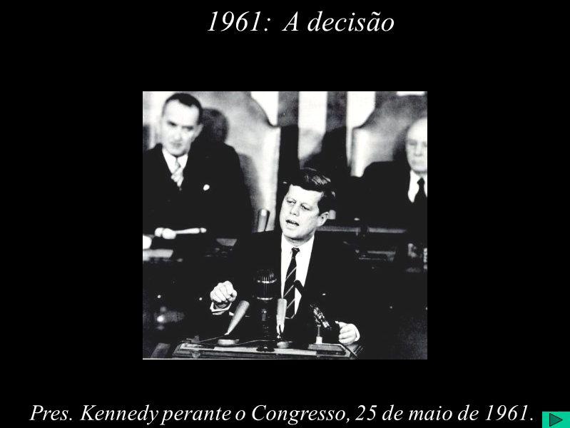 1961: A decisão Pres. Kennedy perante o Congresso, 25 de maio de 1961.