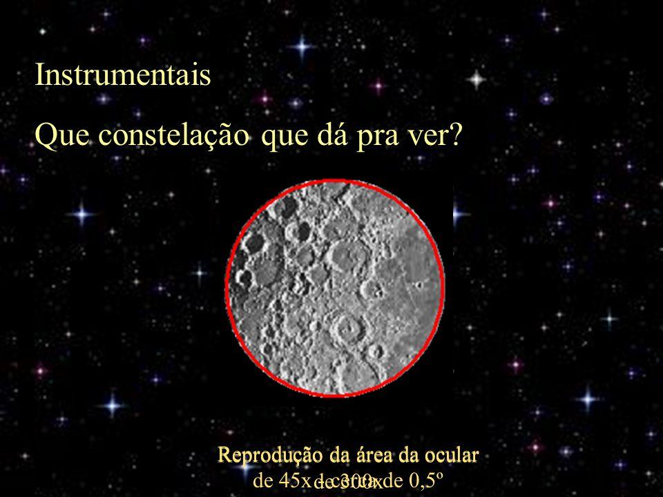 Instrumentais Que constelação que dá pra ver? Reprodução da área da ocular de 45x - cerca de 0,5º Reprodução da área da ocular de 300x