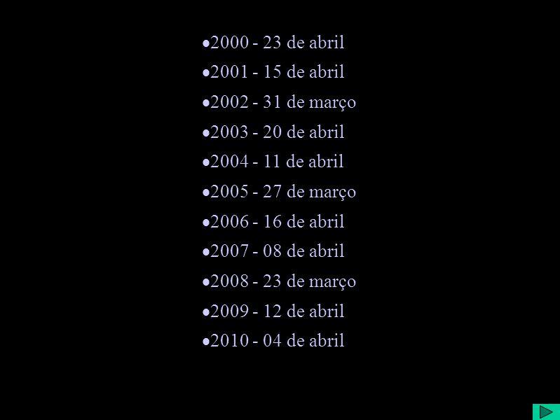 2000 - 23 de abril 2001 - 15 de abril 2002 - 31 de março 2003 - 20 de abril 2004 - 11 de abril 2005 - 27 de março 2006 - 16 de abril 2007 - 08 de abril 2008 - 23 de março 2009 - 12 de abril 2010 - 04 de abril
