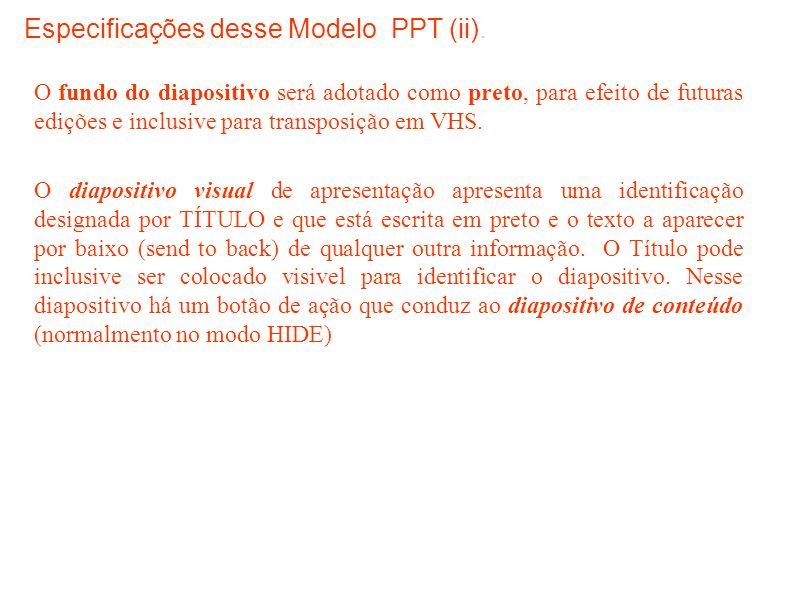 Especificações desse Modelo PPT (ii).