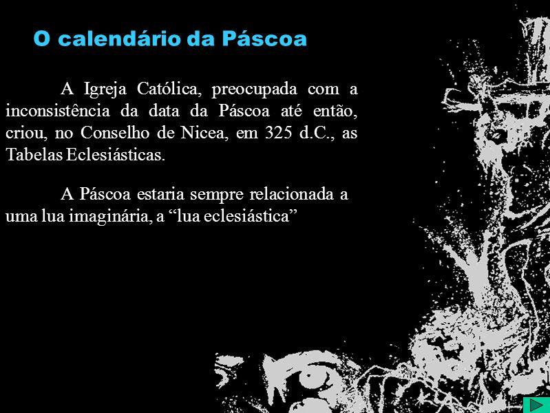O calendário da Páscoa A Igreja Católica, preocupada com a inconsistência da data da Páscoa até então, criou, no Conselho de Nicea, em 325 d.C., as Tabelas Eclesiásticas.