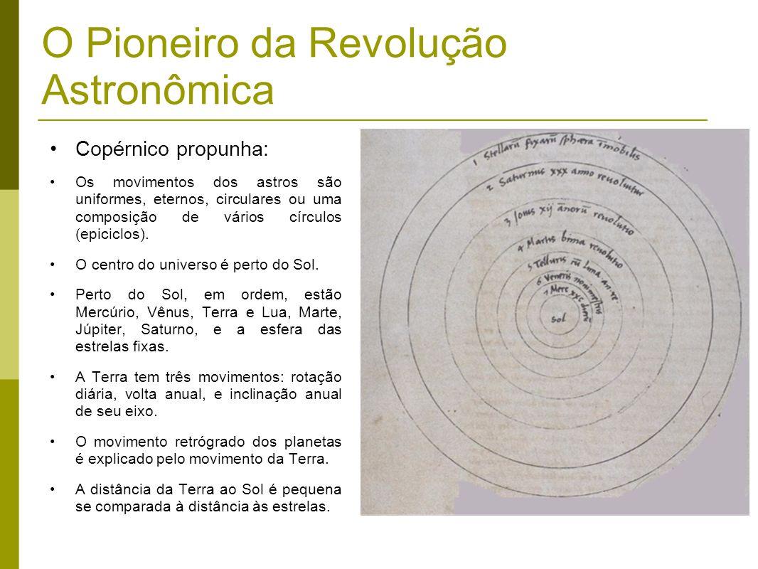 O Pioneiro da Revolução Astronômica Copérnico propunha: Os movimentos dos astros são uniformes, eternos, circulares ou uma composição de vários círcul