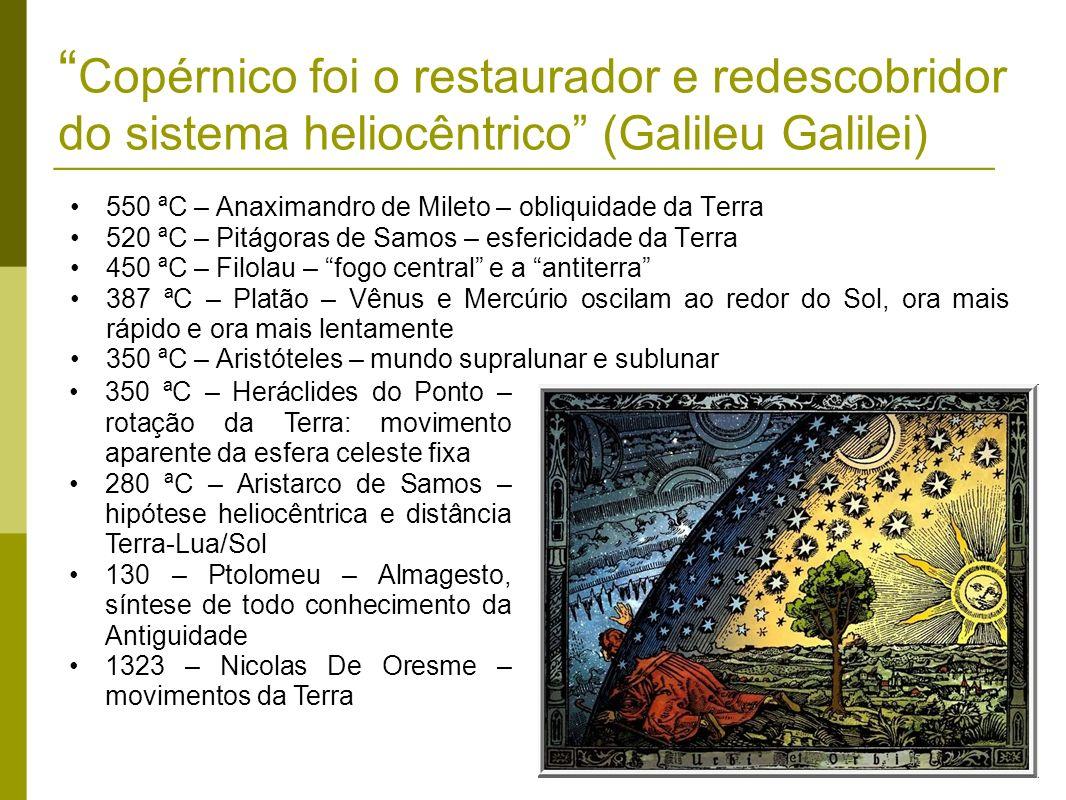 Copérnico foi o restaurador e redescobridor do sistema heliocêntrico (Galileu Galilei) 550 ªC – Anaximandro de Mileto – obliquidade da Terra 520 ªC –