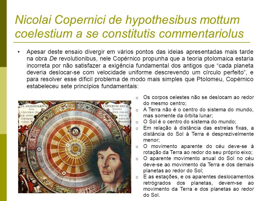 Nicolai Copernici de hypothesibus mottum coelestium a se constitutis commentariolus Apesar deste ensaio divergir em vários pontos das ideias apresenta