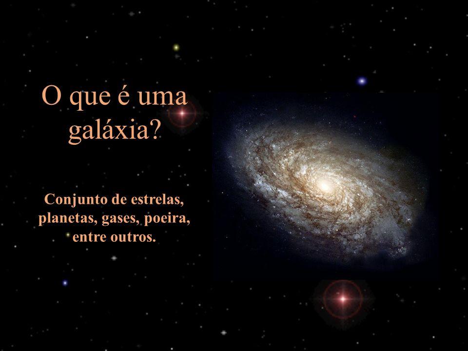 O que é uma galáxia? Conjunto de estrelas, planetas, gases, poeira, entre outros.