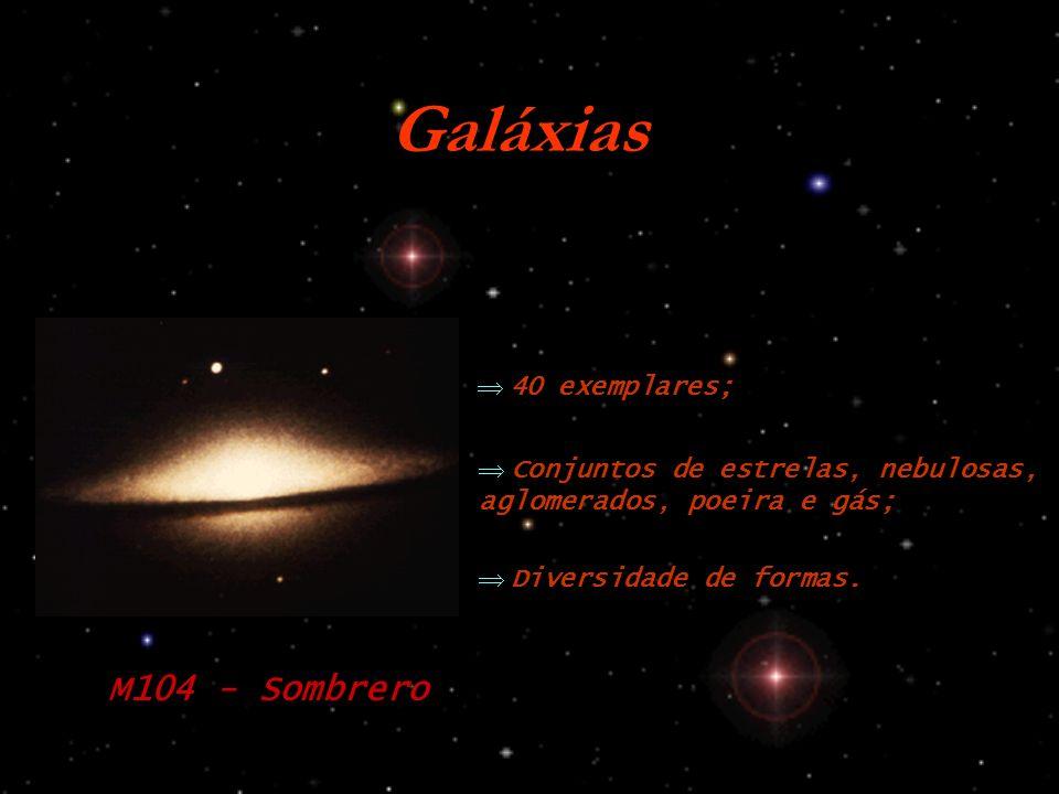 Galáxias Conjuntos de estrelas, nebulosas, aglomerados, poeira e gás; Diversidade de formas.