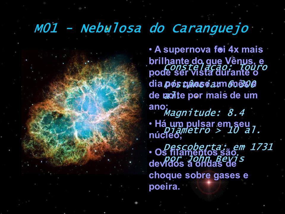 M01 - Nebulosa do Caranguejo Constelação: Touro Distância: 6.300 al. Magnitude: 8.4 Diâmetro > 10 al. Descoberta: em 1731 por John Bevis A supernova f