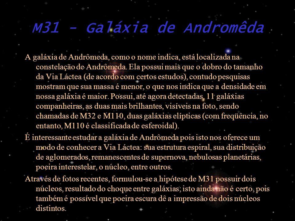 M31 - Galáxia de Andromêda A galáxia de Andrômeda, como o nome indica, está localizada na constelação de Andrômeda. Ela possui mais que o dobro do tam