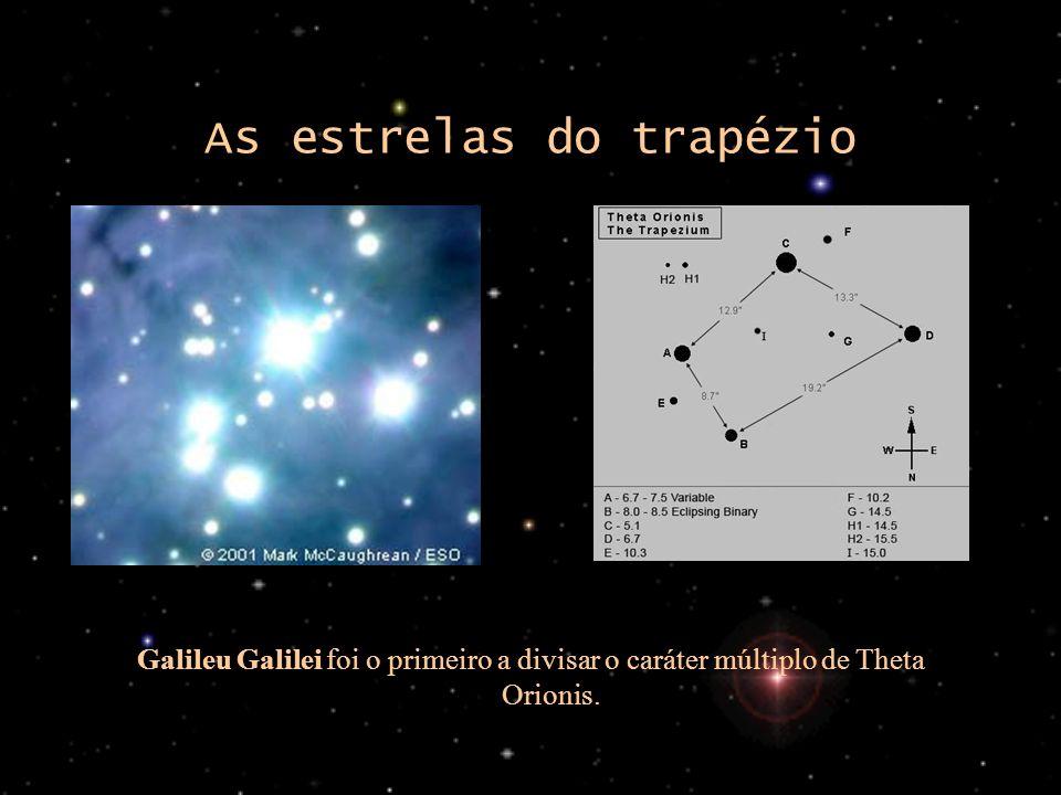 As estrelas do trapézio Galileu Galilei foi o primeiro a divisar o caráter múltiplo de Theta Orionis.