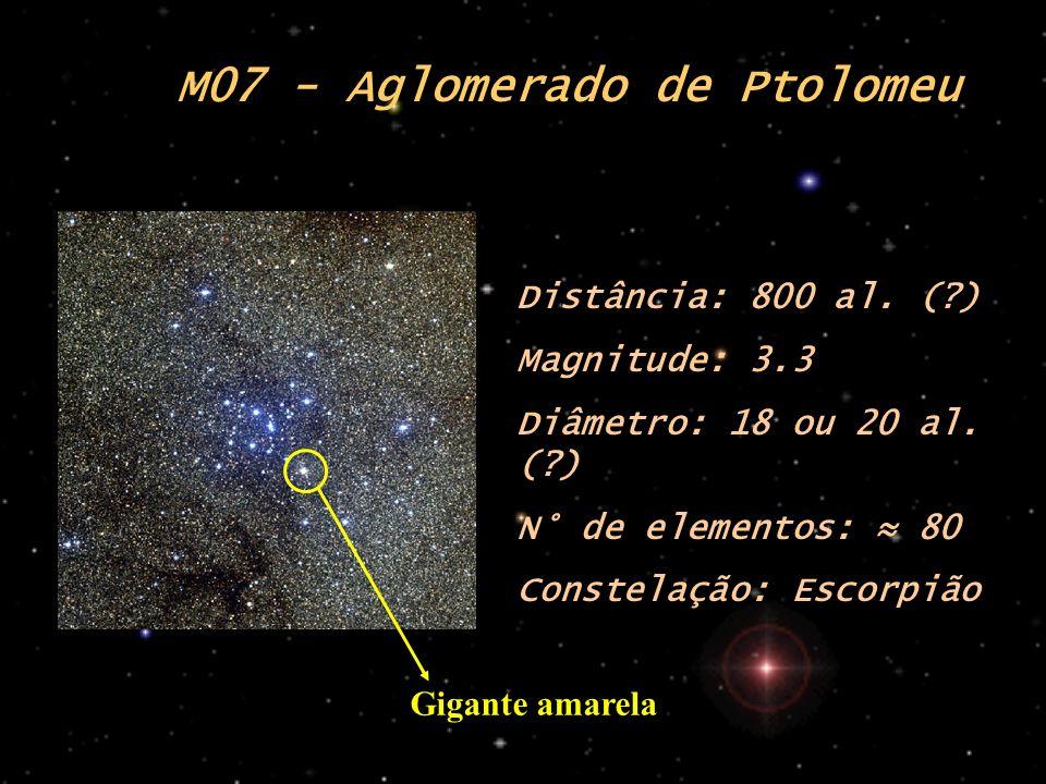 M07 - Aglomerado de Ptolomeu Distância: 800 al. (?) Magnitude: 3.3 Diâmetro: 18 ou 20 al. (?) N° de elementos: 80 Constelação: Escorpião Gigante amare