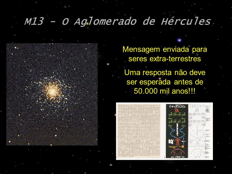 M13 - O Aglomerado de Hércules Mensagem enviada para seres extra-terrestres Uma resposta não deve ser esperada antes de 50.000 mil anos!!!