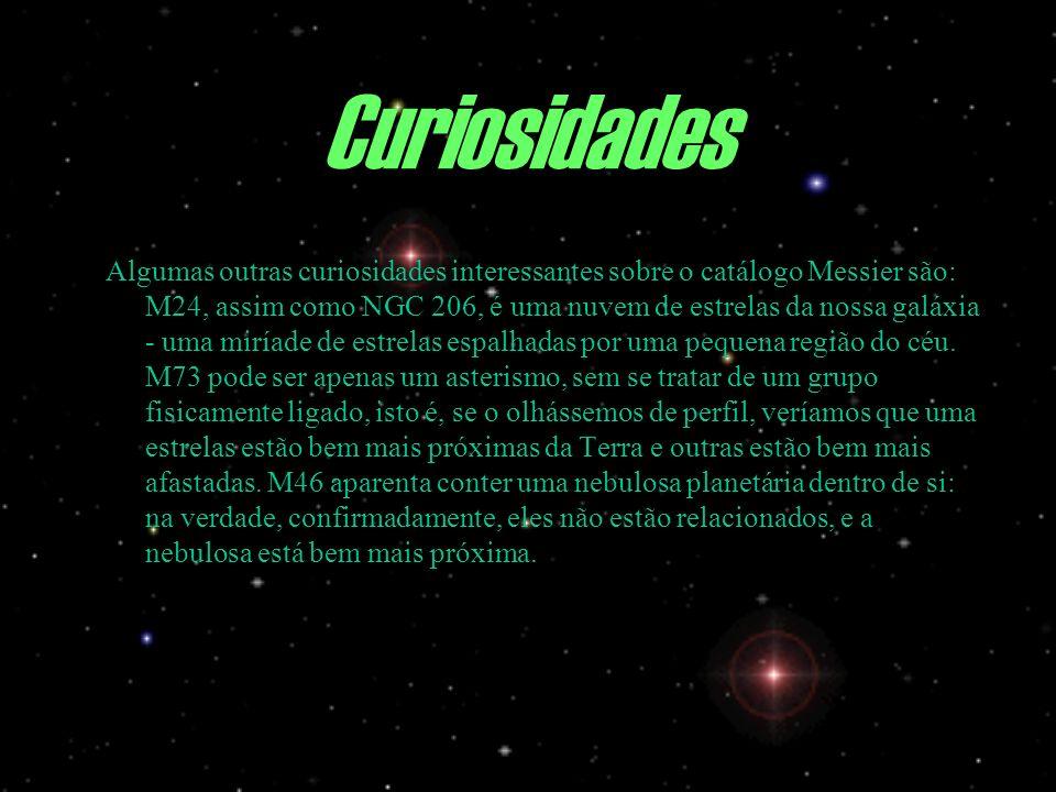 Algumas outras curiosidades interessantes sobre o catálogo Messier são: M24, assim como NGC 206, é uma nuvem de estrelas da nossa galáxia - uma miríad