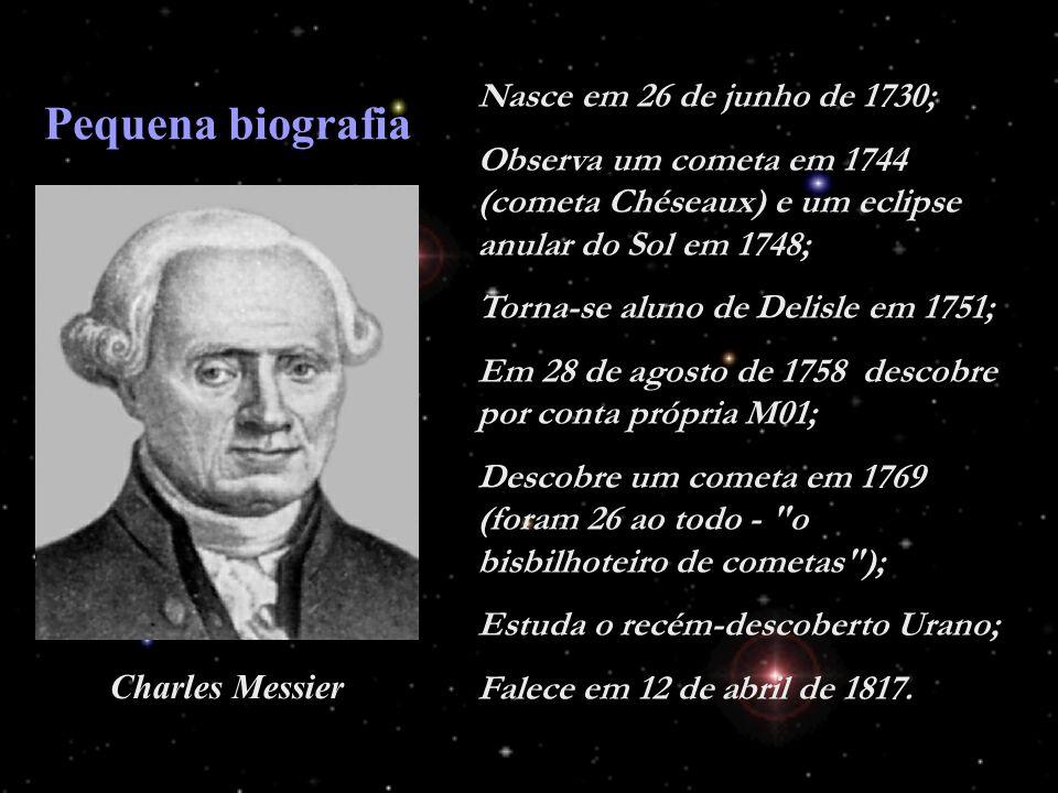 Nasce em 26 de junho de 1730; Observa um cometa em 1744 (cometa Chéseaux) e um eclipse anular do Sol em 1748; Torna-se aluno de Delisle em 1751; Em 28 de agosto de 1758 descobre por conta própria M01; Descobre um cometa em 1769 (foram 26 ao todo - o bisbilhoteiro de cometas ); Estuda o recém-descoberto Urano; Falece em 12 de abril de 1817.