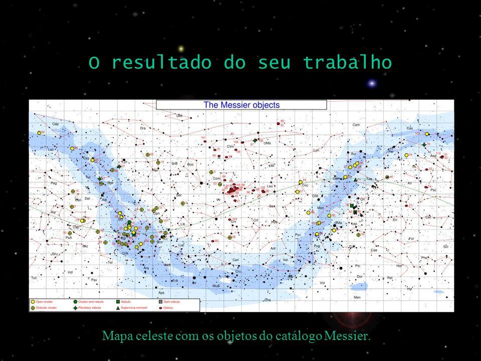 O resultado do seu trabalho Mapa celeste com os objetos do catálogo Messier.