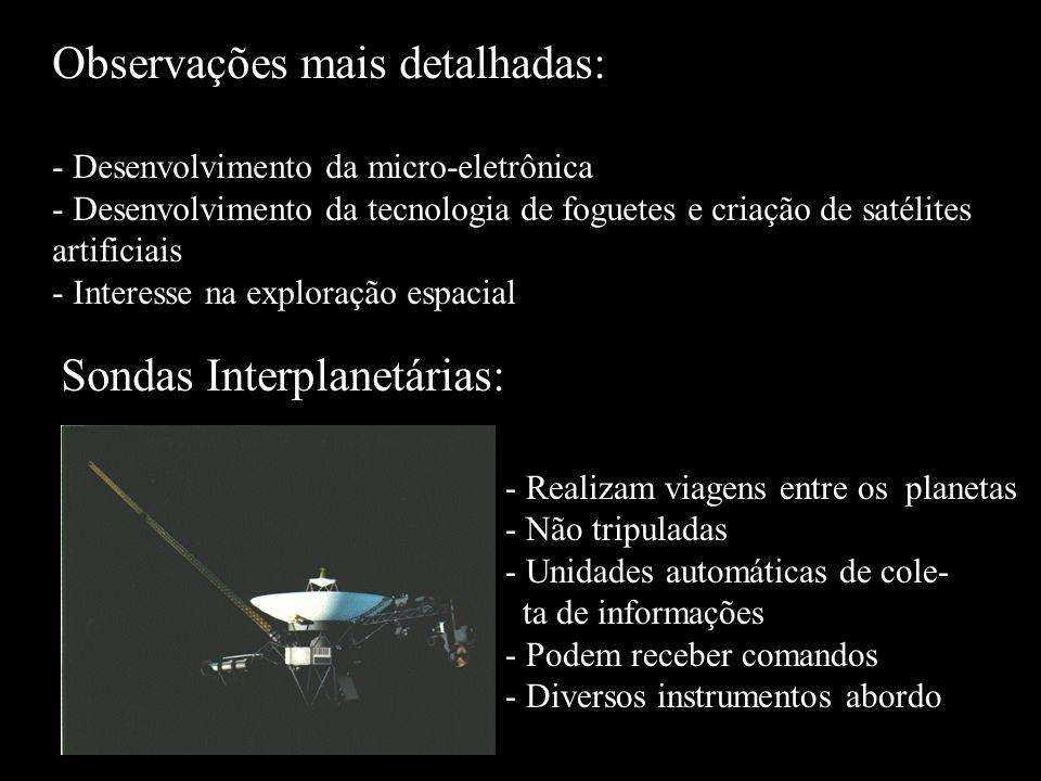 Observações mais detalhadas: - Desenvolvimento da micro-eletrônica - Desenvolvimento da tecnologia de foguetes e criação de satélites artificiais - In