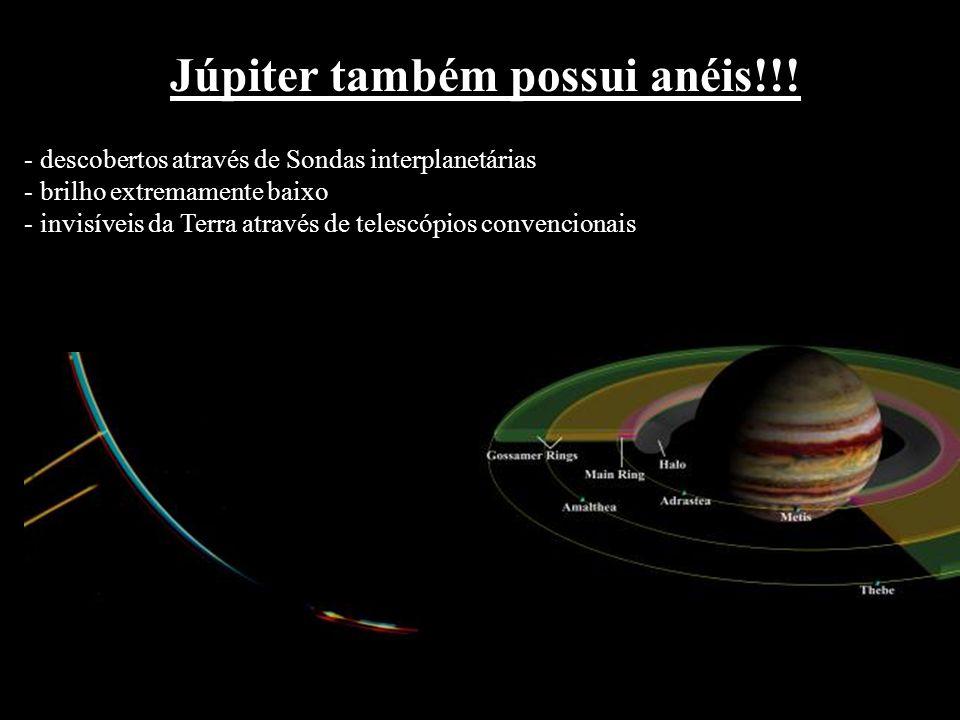 Júpiter também possui anéis!!! - descobertos através de Sondas interplanetárias - brilho extremamente baixo - invisíveis da Terra através de telescópi