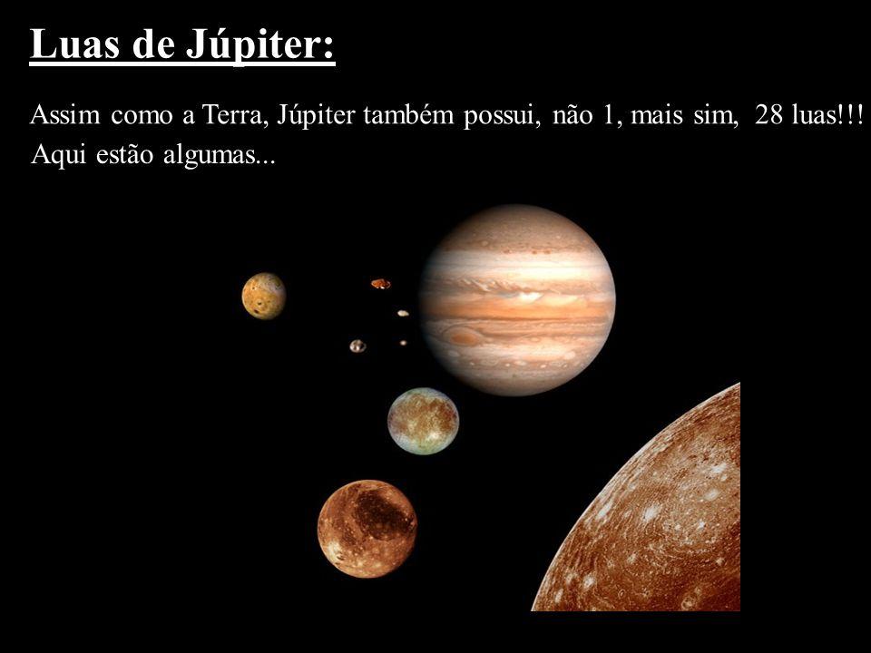 Luas de Júpiter: Assim como a Terra, Júpiter também possui, não 1, mais sim,28 luas!!! Aqui estão algumas...