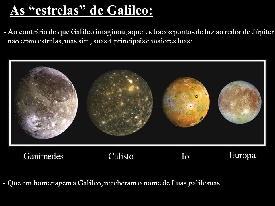 As estrelas de Galileo: - Ao contrário do que Galileo imaginou, aqueles fracos pontos de luz ao redor de Júpiter não eram estrelas, mas sim, suas 4 pr