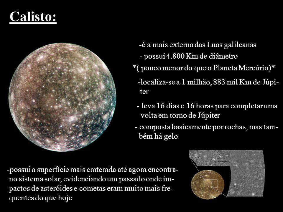 Calisto: -é a mais externa das Luas galileanas - possui 4.800 Km de diâmetro *( pouco menor do que o Planeta Mercúrio)* -localiza-se a 1 milhão, 883 m