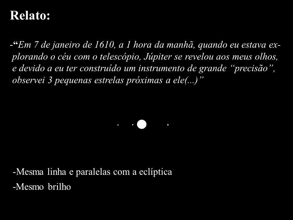 Relato: -Em 7 de janeiro de 1610, a 1 hora da manhã, quando eu estava ex- plorando o céu com o telescópio, Júpiter se revelou aos meus olhos, e devido