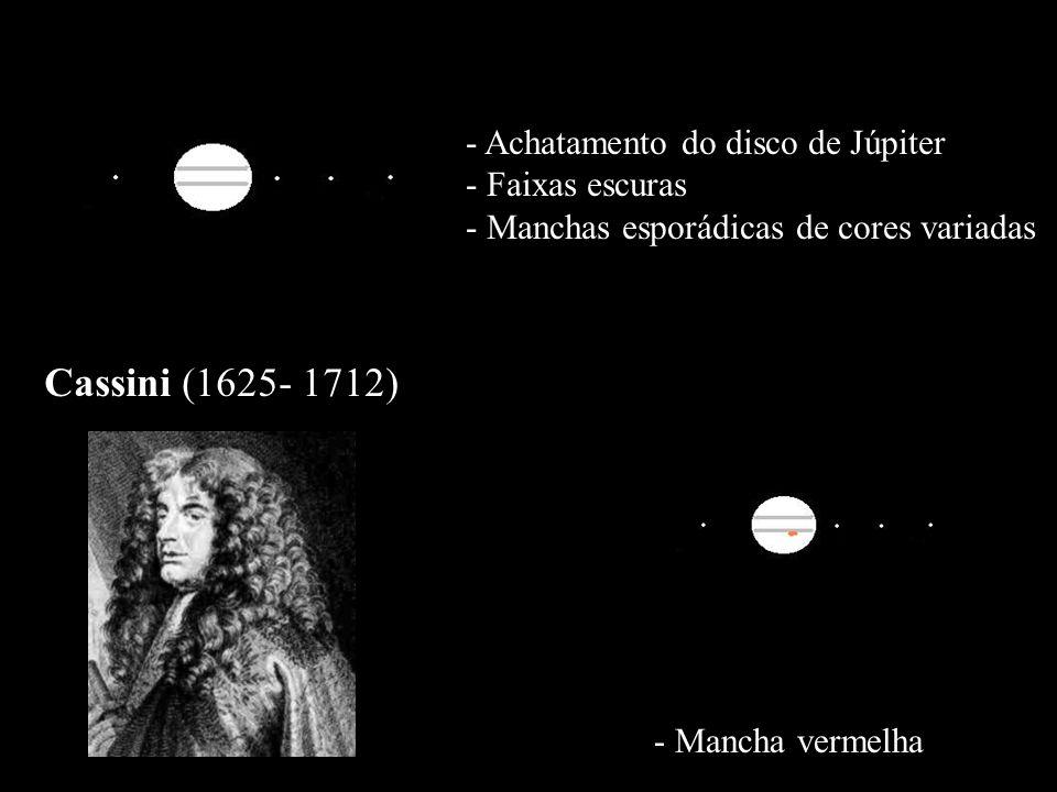 - Achatamento do disco de Júpiter - Faixas escuras - Manchas esporádicas de cores variadas Cassini (1625- 1712) - Mancha vermelha