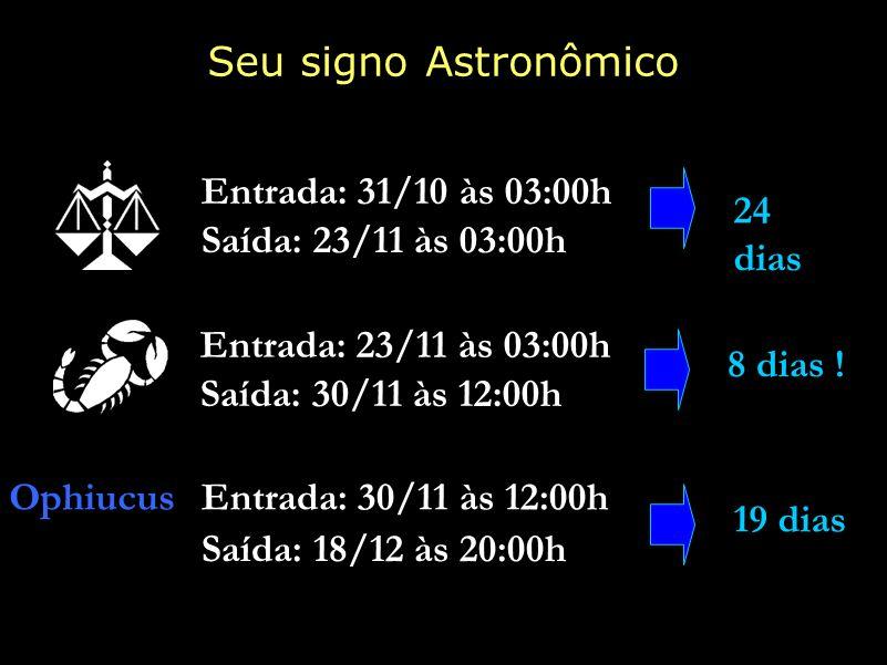 Ophiucus 19 dias Entrada: 30/11 às 12:00h Saída: 18/12 às 20:00h 24 dias Saída: 23/11 às 03:00h Entrada: 31/10 às 03:00h 8 dias ! Entrada: 23/11 às 03