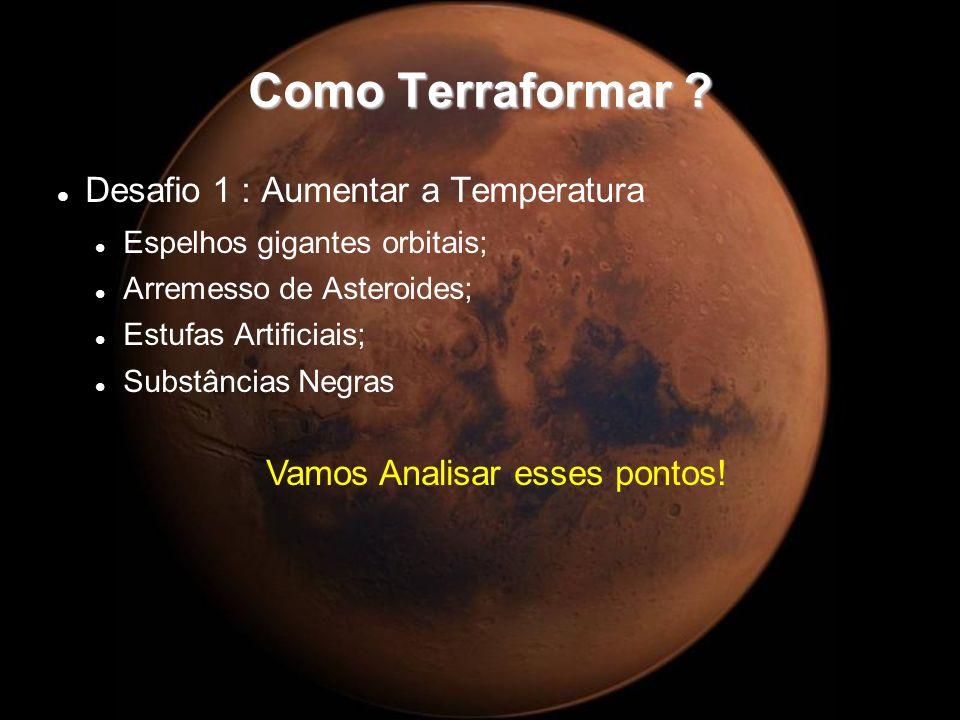 Como Terraformar ? Desafio 1 : Aumentar a Temperatura Espelhos gigantes orbitais; Arremesso de Asteroides; Estufas Artificiais; Substâncias Negras Vam