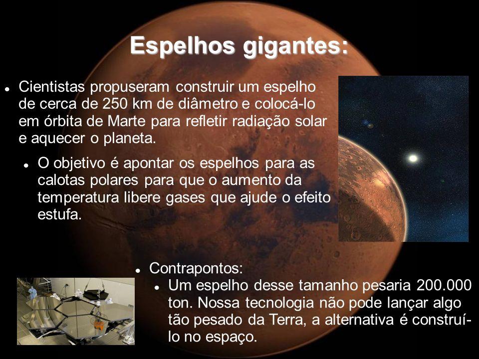 Espelhos gigantes: Cientistas propuseram construir um espelho de cerca de 250 km de diâmetro e colocá-lo em órbita de Marte para refletir radiação sol
