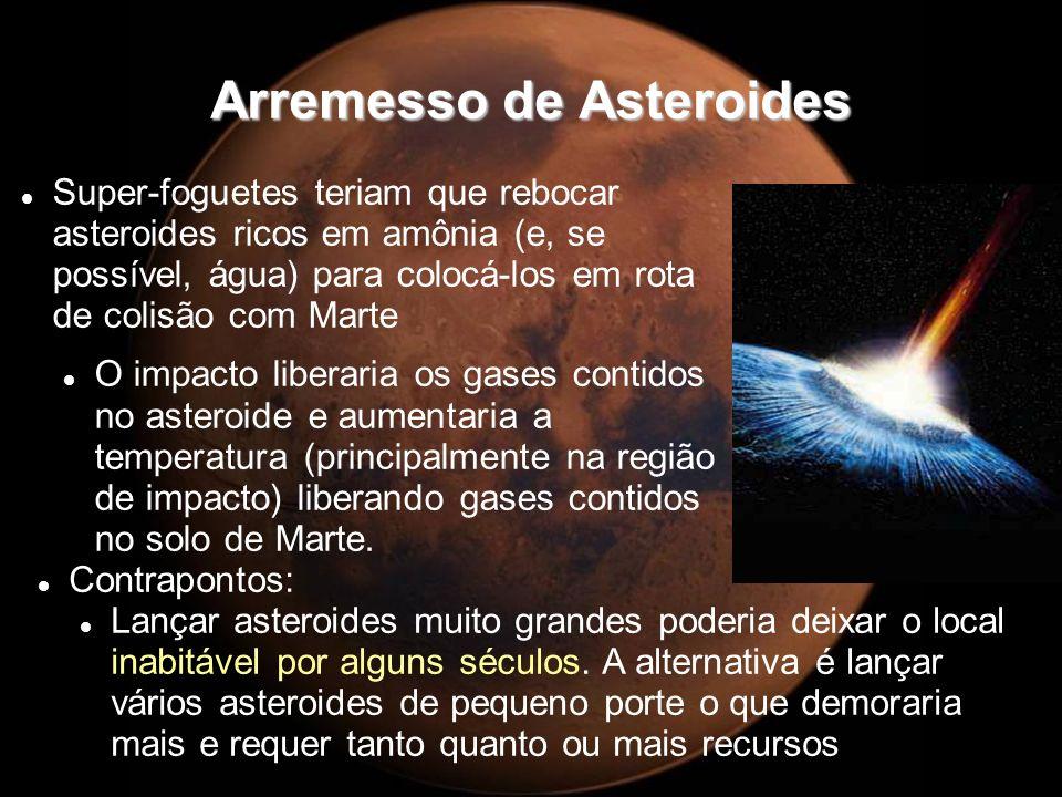 Arremesso de Asteroides Super-foguetes teriam que rebocar asteroides ricos em amônia (e, se possível, água) para colocá-los em rota de colisão com Mar