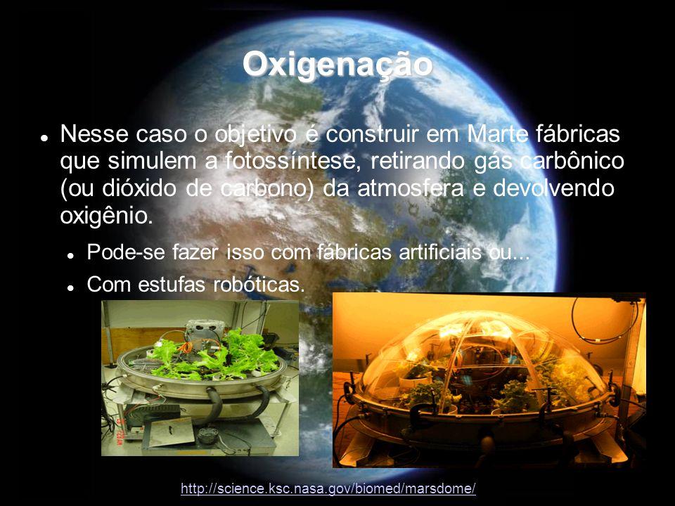 Oxigenação Nesse caso o objetivo é construir em Marte fábricas que simulem a fotossíntese, retirando gás carbônico (ou dióxido de carbono) da atmosfer